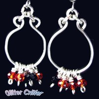 Hoop Earrings With Red And Black Crystal Dangles Silver Plated