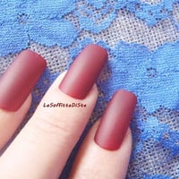 matte press onnails dark red fake nail tip red  squoval square false nails halloween vampire lolita witch sexy drag queen lasoffittadiste