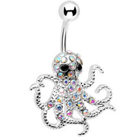 Aurora Gem Encrusted Floating Octopus Belly Button Ring | Body Candy Body Jewelry