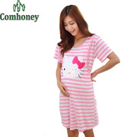 Maternity Nursing Pajamas for Pregnant Women Summer Short Sleeve Hello Kitty Maternity Nightgown Sleepwear for Pregnant Women