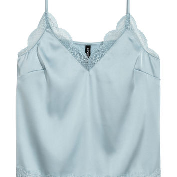 Satin cami top - Light grey-blue - Ladies | H&M GB