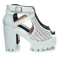 Basic13 Peep Toe Perforated Cut Out Lug Sole Platform Chunky Heel Sandals