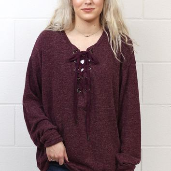 Gotta Good Feeling Lace Up Sweater {Burgundy} EXTENDED SIZES