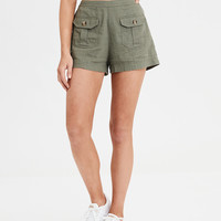 High-Waisted Linen Short, Olive