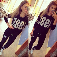 Women's Fashion Girls Spring/Autumn Pullovers Hoodie Pencil Pants 2 Piece Sweatshirts Track Suit Sports & Outdoors Jumpsuit Rompers = 1830118596