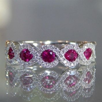 Elegant Bands Ring 925 Sterling Silver Jewelery Women Cubic Zirconia Wedding Band jewelry Gifts