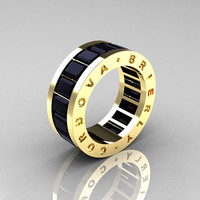 Mens Modern 14K Yellow Gold Black Diamond Channel Cluster Infinity Wedding Band R174-14YGBD