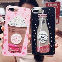 Aokin Girls bling glitter liquid phone cases for iphone 7 case silicone transparent back cover for iphone 6s 6 7 8 plus x coque