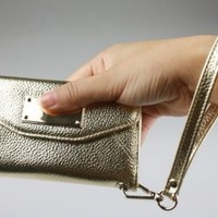 Genuine leather Bronze color Wallet clutch for Iphone 5 with Camera hole Ship From U.S.A.