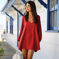 Simple Solid Color Fashion V-Neck Hollow Long Sleeve Loose Chiffon Mini Dress