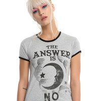 Ouija Answer Is No Girls Ringer T-Shirt