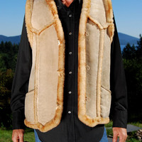 1970s Vintage Shearling Vest Tan Suede Leather Sheepskin Vest Size Medium / Large Native Sleeveless Coat Warm Lamb Fur Sherpa Boho Hippie