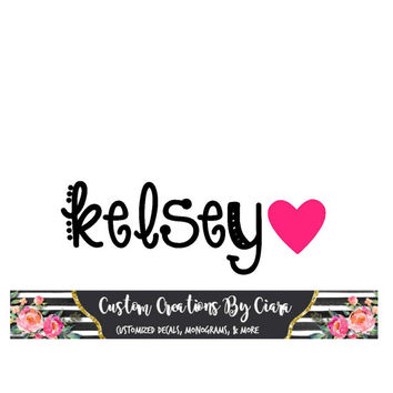 Cute Name Decal with Heart, Name sticker, Name Monogram Decal, Vinyl Name Decal, Car Decal , Cup Binder Decal