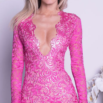NELIA LACE DRESS IN HOT PINK