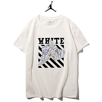NIKE Jordan & Off White Summer New fashion letter shoes stripe print leisure couple top t-shirt White