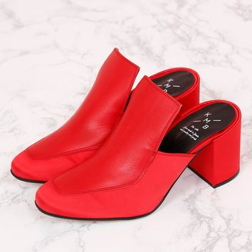 Satin + Leather Mule - Red