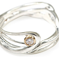 Seagrass Diamond & Silver Ring, Bands