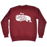 123t USA Save The Whales Funny Sweatshirt