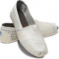TOMS+ White Perforated Leather Women's Classics   TOMS.com