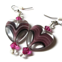 Glass Heart Earrings, Amethyst Purple Swirl, Fuchsia Swarovski Crystal Accents, Nickel Free Iron French Ear Wires, Valentine's Day Jewelry