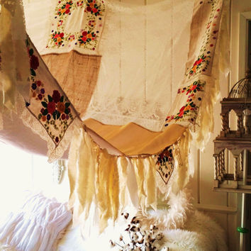 boho bed Canopy Shabby Chic rustic wedding Bohemian Hippy scarf burlap Gypsy hippie patchwork embroidery Decor photo wall hippiewild Fringe