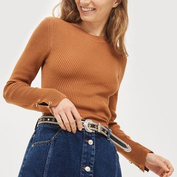 Ring Detail Cropped Jumper - Sweaters & Knits - Clothing