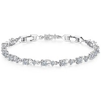 Luxury  Rose Gold Plated Chain Bracelet for Women Ladies Shining AAA Cubic Zircon Crystal Jewelry