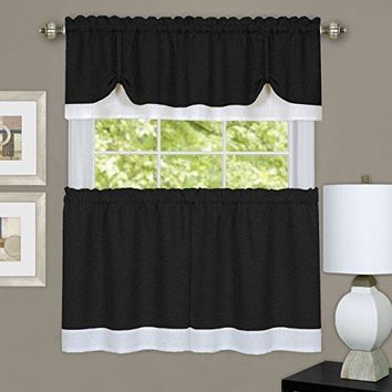 Ben&Jonah Collection Darcy Window Curtain Tier and Valance Set 58x36/58x14 - Black/White
