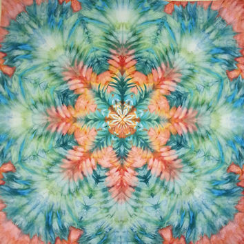 large wall hanging tie dye tapestry peach turquoise pink aqua green