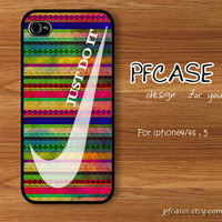 White nike JUST DO IT with aztec Pattern : Handmade Case for Iphone 4/4s , Iphone 5 Case Iphone