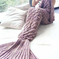 Mermaid Blanket Blanket Wool Blanket Knitted Fish Tail Of The Couch Blankets Air Conditioning Blanket B0013564