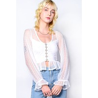 Marguerite Lace Hook & Eye Front Blouse