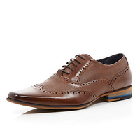 River Island MensBrown leather panelled lace up formal shoes