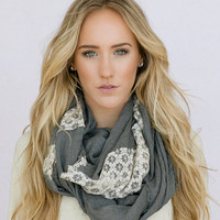 Linen Lace Infinity Scarf Charcoal Gray Loop Circle Scarf Women's Fashion Accessories lace and linen scarf in smoke gray (SCF-LNGRAY)