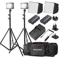 Bestlight® Double LED-204 Ultra High Power Panel Dimmable LED Video Light Kit with Large Deluxe Bag to Carry All Lights& Accessories for Canon, Nikon, Sony and Other Digital SLR Cameras