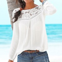 2019 Fashion Women Top And Blouse Casual Long Sleeve Lace Patchwork Hollow Tops Blouse Summer Beachwear Shirt blusas mujer #25