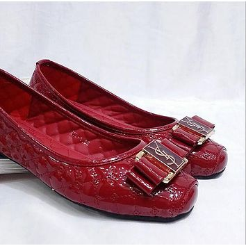 YSL Trending Women Stylish Metal Buckle Bowknot Flat Single Shoes Red I12995-1