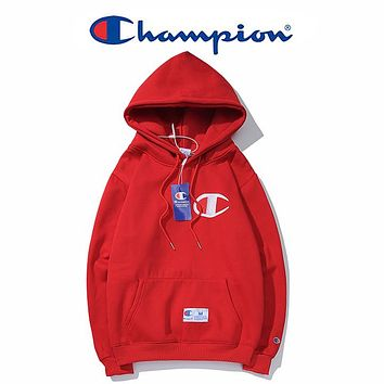 Champion Woman Men Fashion Embroidery Hooded Top Sweater Sweatshirt Hoodie