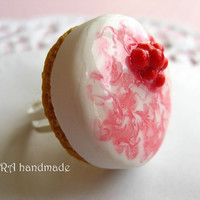 Kawaii lolita handmade polymer clay miniature food cherry cheesecake ring