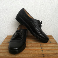 Black Leather Shoes, Low Wedge Brogues, Granny Moccasins, Orthomedic Loafers, Womens Oxfords 7, Platform Shoes 37, Made in Germany
