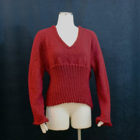 Red Sweater Soft V neck Empire Waist Knit Ribbed Size 10