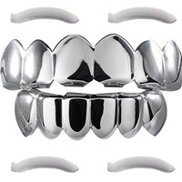 24K White Gold Plated Grillz + 2 EXTRA Molding Bars