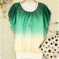 vogue baby — 070111 Chiffon shirt blouse with necklace