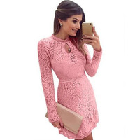 Autumn Women's Stylish Casual Lace Evening Party Prom Dress One Piece Dress [4919733700]