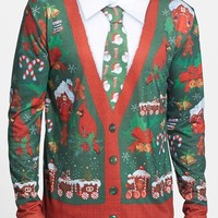 Men's Faux Real 'Ugly Christmas Cardigan' Long Sleeve T-Shirt