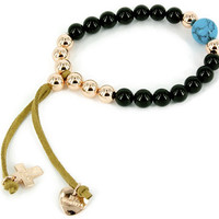 Black Agate Love & Protect Bracelet with Rose Gold