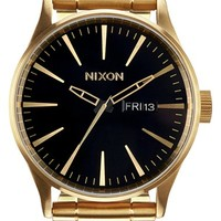 Nixon 'Sentry' Bracelet Watch, 42mm - Gold/ Black