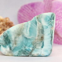 Polished Larimar 30g 150ct Slab Azure Sky Marbled Lapidary Cabbing Display Showcase Caribbean Blue Pectolite DIY pendant Rough Raw Stone