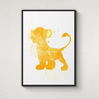 Lion King, Simba, Disney Alternative Poster, Watercolor Painting, Archival Fine Art, Home Wall Decor, Giclee Print,