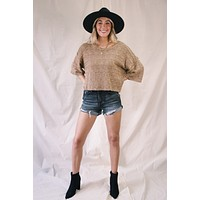 Callie Cropped Sweater, Taupe